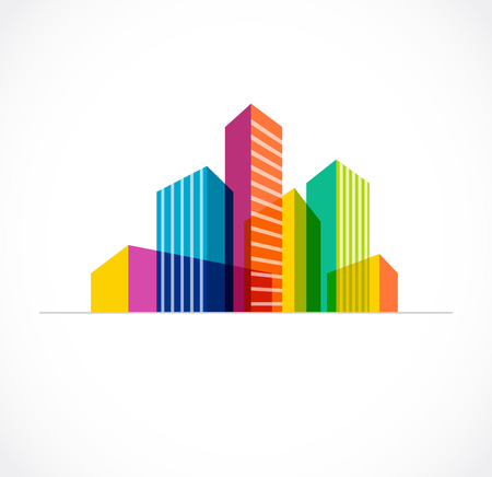 real estate background: Colorful real estate, city and skyline icon Illustration