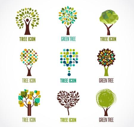 hojas de arbol: Colecci�n de verdes �rboles - logotipos e iconos Vectores