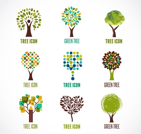 trees silhouette: Collection of green tree - logos and icons