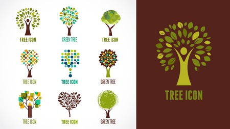 eco logo: Collection of green tree - logos and icons