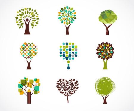 Collection d'arbres verts - logos et icônes Banque d'images - 40626762