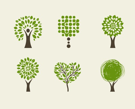 green tree: Collection of green tree - logos and icons