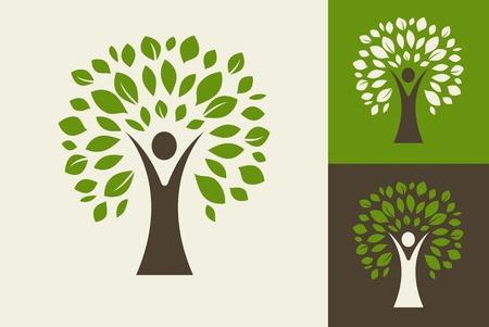 arbol roble: árbol verde - logotipo y el icono