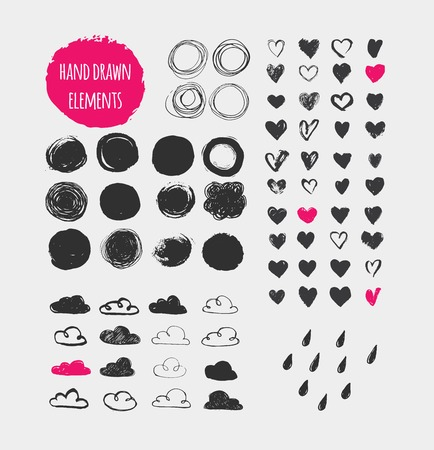Hand drawn shapes, icons, elements and hearts