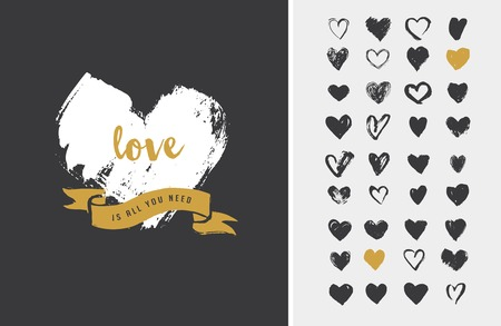 hipster: Heart Icons, hand drawn icons for valentines and wedding