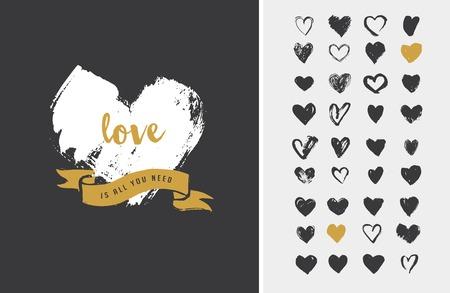 cuore: Icone di cuore, icone disegnati a mano per San Valentino e matrimonio