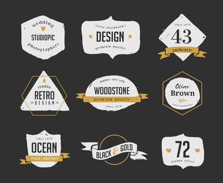 hand drawn, inked hipster vintage retro labels and logo Vector