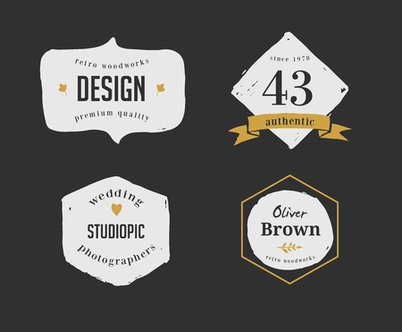 inked: hand drawn, inked hipster vintage retro labels and logo