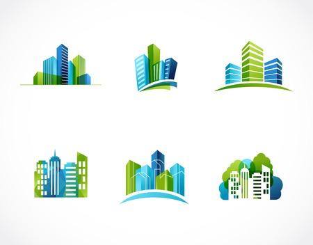 city background: real estate, city, skyline icons and logos
