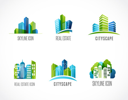 real estate agent: real estate, city, skyline icons and logos