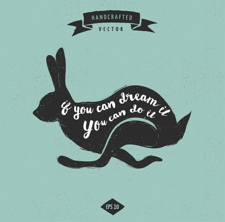 dirty t shirt: inspiration quote hipster vintage design label - rabbit