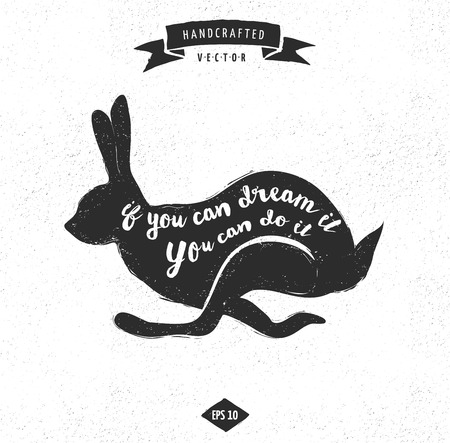 inspiration quote hipster vintage design label - rabbit
