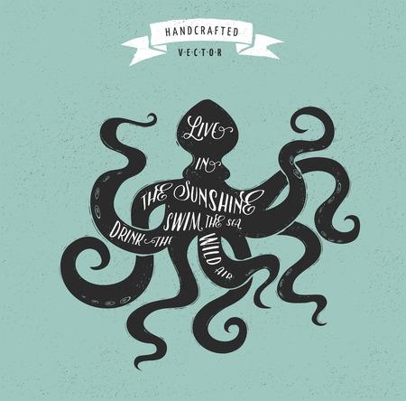 inspiration quote hipster vintage design label - octopus 일러스트