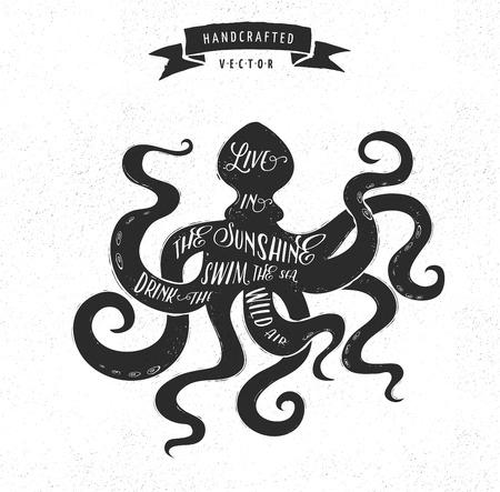 dirty t shirt: inspiration quote hipster vintage design label - octopus Illustration