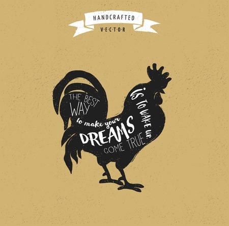 gallo: Cita de la inspiraci�n inconformista dise�o del vintage de la etiqueta - gallo
