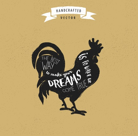and heritage: inspiration quote hipster vintage design label - rooster