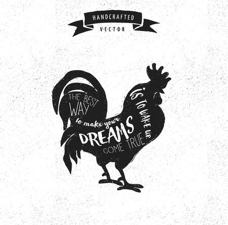animales de granja: Cita de la inspiraci�n inconformista dise�o del vintage de la etiqueta - gallo