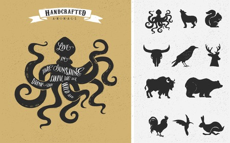 black octopus: inspiration quote hipster vintage design set