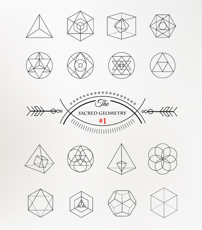 the religion: Sacred geometry. Alchemy, spirituality icons Illustration