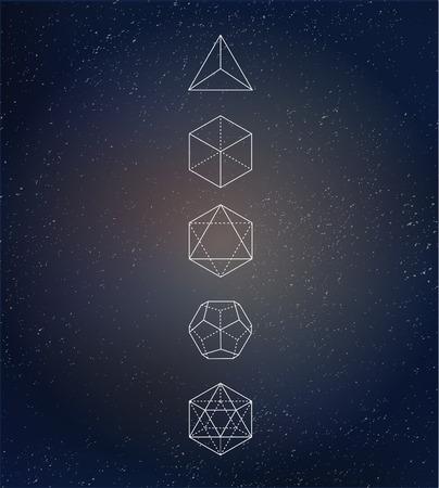 Sacred geometry. Alchemy, spirituality icons Illustration