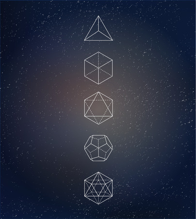 esoteric: Sacred geometry. Alchemy, spirituality icons Illustration
