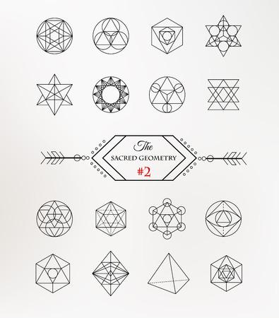 shape: La géométrie sacrée. Alchemy, icônes de spiritualité Illustration