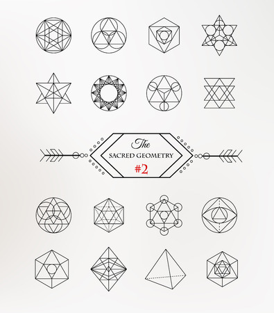 freemasonry: Sacred geometry. Alchemy, spirituality icons Illustration