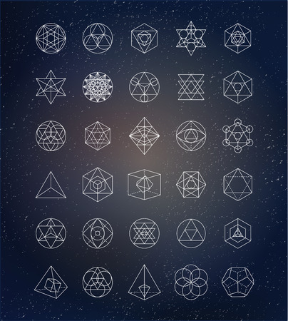 crystal: Sacred geometry. Alchemy, spirituality icons Illustration