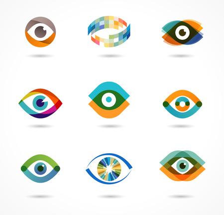 Set of colorful eye icons
