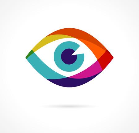 Conjunto de iconos de colores de ojos Ilustración de vector