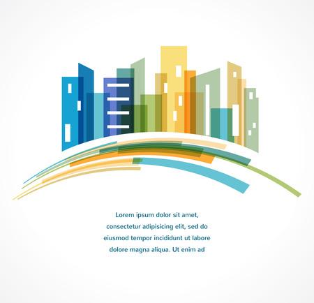 bienes raices: Ciudad colorida, bienes raíces y el fondo del horizonte Vectores