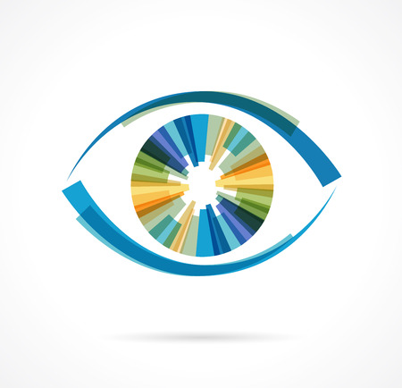 focus on: Set of colorful eye icons