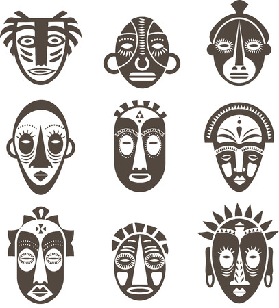 masks: African masks set of icons