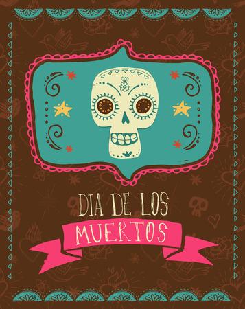 dia de muertos: print - cráneo del azúcar mexicano, día del cartel muerto