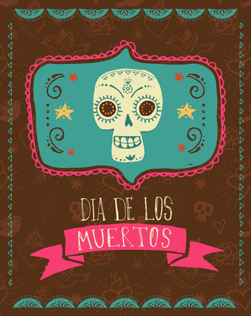 mexican background: print - mexican sugar skull, day of the dead poster