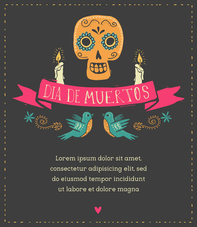 tete de mort: print - cr�ne de sucre mexicain, jour de l'affiche morte Illustration