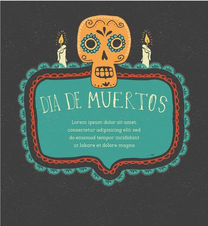 tete de mort: print - crâne de sucre mexicain, jour de l'affiche morte Illustration