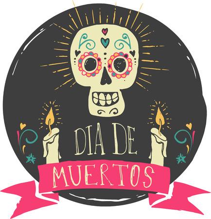 calaveras: print - cráneo del azúcar mexicano, día del cartel muerto