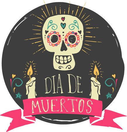 skeleton cartoon: print - mexican sugar skull, day of the dead poster
