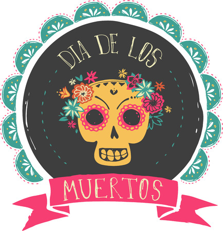 mexico: print - mexican sugar skull, day of the dead poster