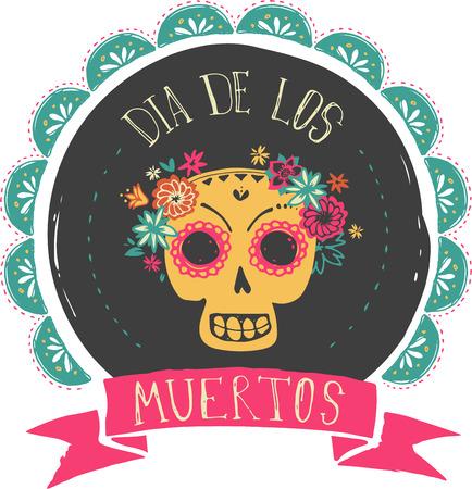 Print - mexikanische zuckerschädel, tag der toten Plakat Standard-Bild - 41835342