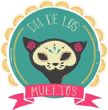 dia de muertos: print - cráneo del gato del azúcar mexicano, día del cartel muerto Vectores