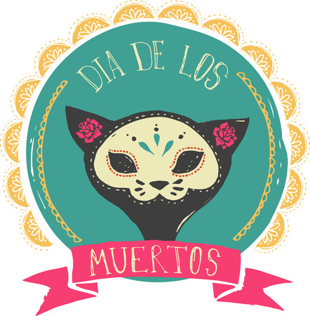 mexican: print - mexican sugar cat skull, day of the dead poster