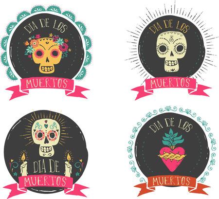 dia de muertos: print - cráneo del azúcar mexicano y juego de corazón, día del cartel muerto Vectores