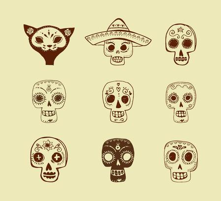 caricatura mexicana: dibujados a mano garabatos, conjunto cr�neo mexicano, d�a de los muertos Vectores