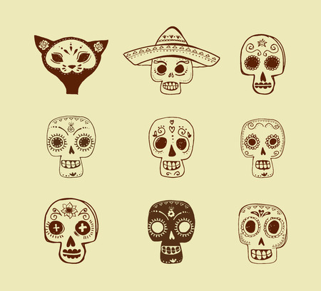 skeleton cartoon: hand drawn doodles, mexican skull set, day of the dead Illustration