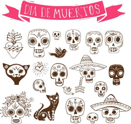 day of the dead: dibujados a mano garabatos, conjunto cr�neo mexicano, d�a de los muertos Vectores