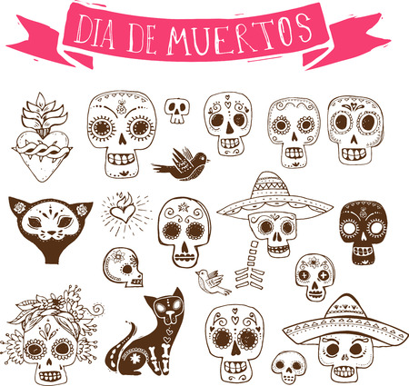 day of the dead: hand drawn doodles, mexican skull set, day of the dead Illustration