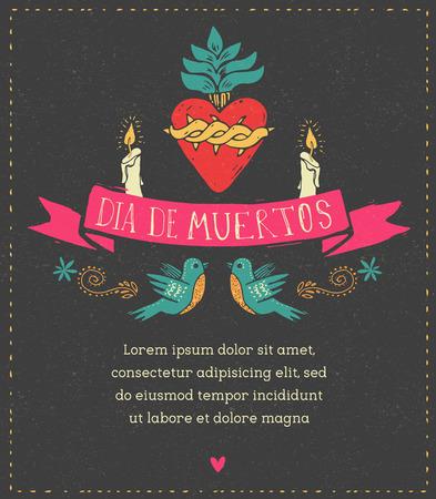 dia de muertos: print - corazón mexicano, día del cartel muerto