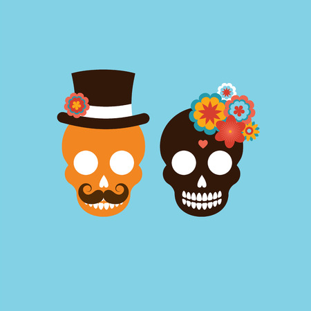 elegant woman: Mexican wedding invitation with two cute hipster skulls